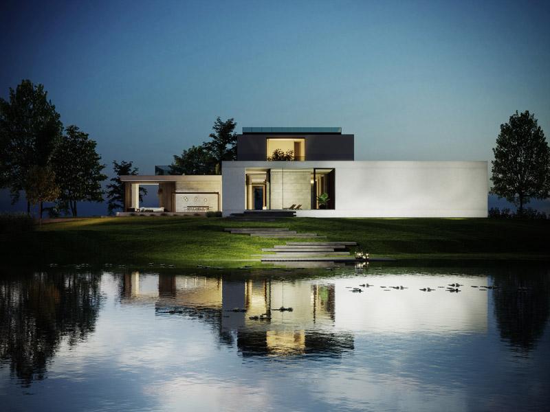 """Dom """"Water Mansion House"""". Projekt i wizualizacje: JMW Architekci"""