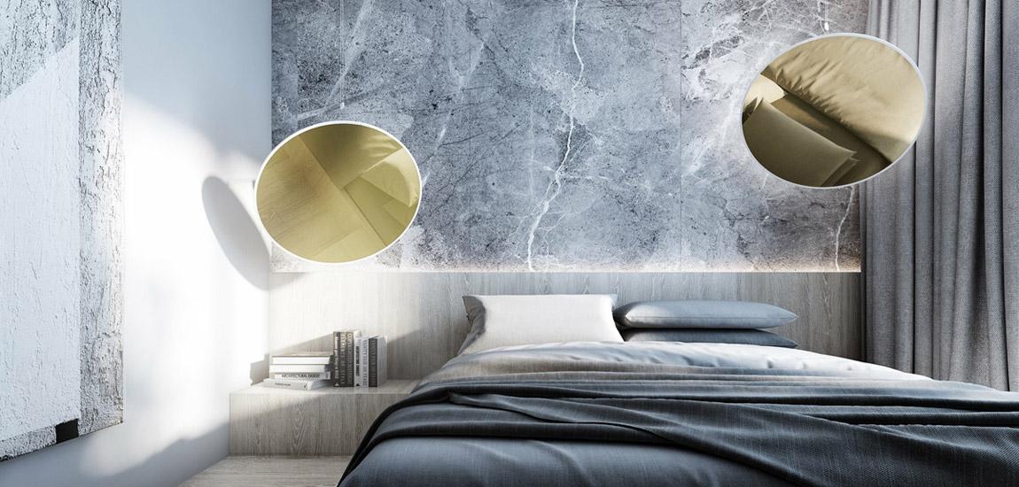 Stonowane wnętrza mieszkania w odcieniach szarości i naturalnego drewna studia Merapi Architects