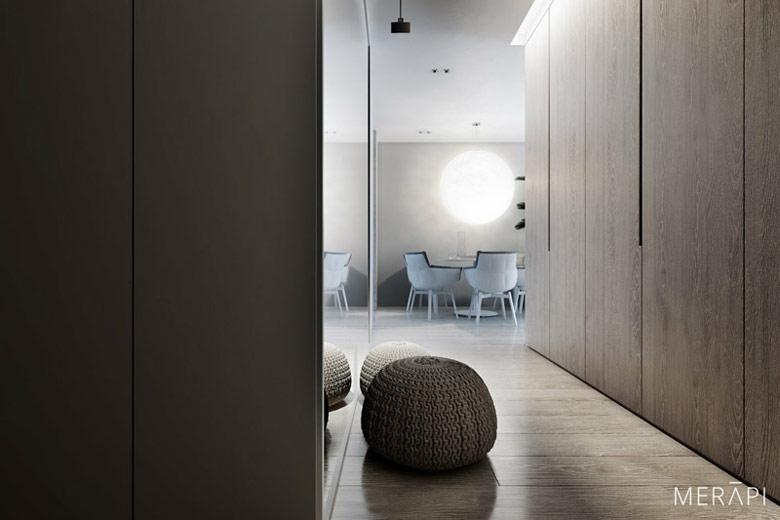Wnętrza mieszkania, Wilanów, Warszawa. Projekt:Merapi Architects