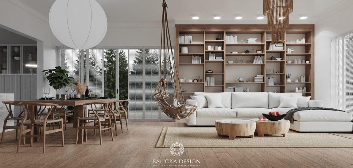 Ciepłe, naturalne wnętrza z klasycznymi elementami projektu studia Balicka Design