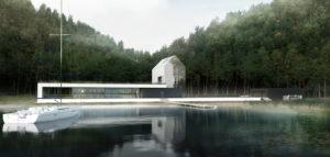 Minimalistyczny dom nad wodą pracowni BIAMS