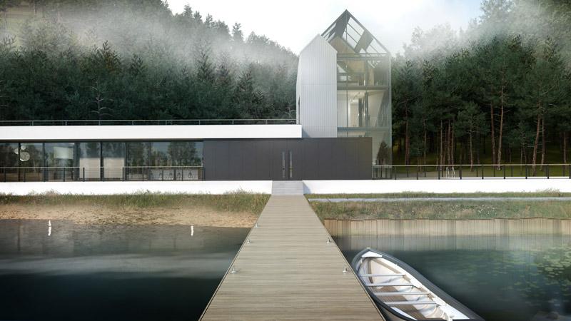 Dom horyzontalny nad wodą, woj. warmińsko-mazurskie. Projekt:BIAMS