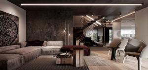 Szarości i ciemne wyraziste akcenty. Wnętrza domu biura hilight.design