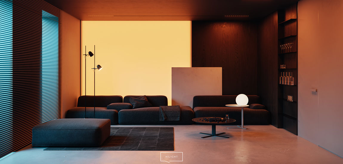 Mocne kontrasty pełne zróżnicowanych faktur i materiałów. Wnętrza domu pracowni hilight.design