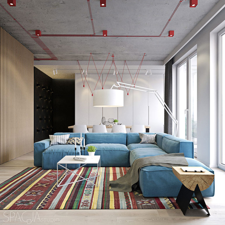 Apartament w Warszawie. Projekt wnętrz:Spacja Studio