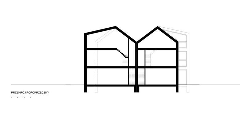 Domy ze Skrzelami w Zielonkach. Projekt:Superhelix Pracownia Projektowa – Bartłomiej Drabik