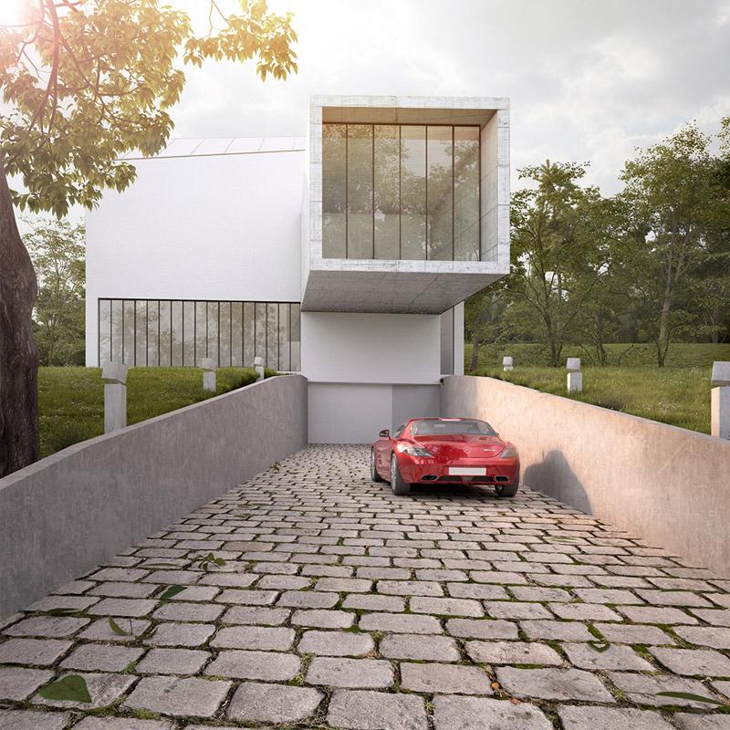 Projekt domu LUNETA HOUSE w Krakowie. Autorzy:Autograf Studio