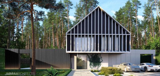 Willa PINUS w Magdalence. Projekt domu w otoczeniu lasu biura JABRAARCHITECTS