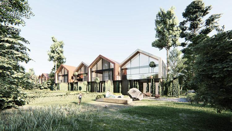Osiedle domów jednorodzinnych, Wilanów, Warszawa. Projekt: MODULA Architekci