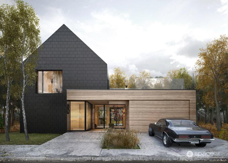 Dom jednorodzinny DARK PLATE HOUSE. Projekt: Pracownia architektoniczna Spacelab