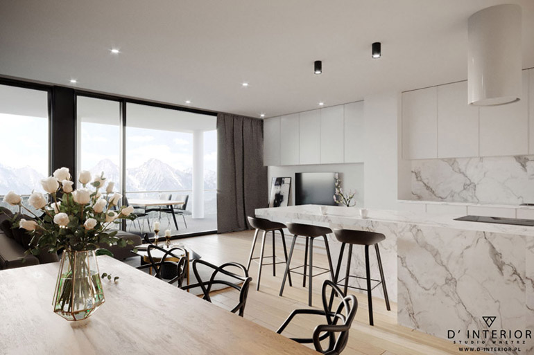 Wnętrza apartamentu w górach. Projekt: D' INTERIOR