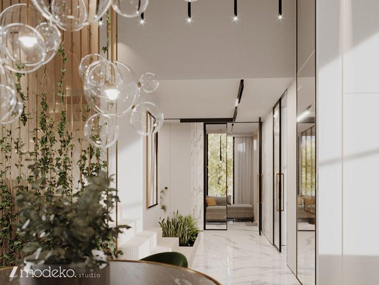 Wnętrza domu pod Bydgoszczą. Projekt: modeko.studio