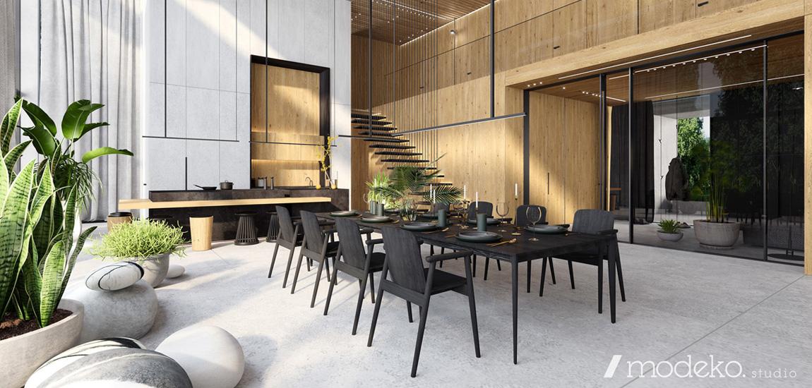 Drewno i beton w wypełnionych światłem i roślinnością wnętrzach projektu modeko.studio
