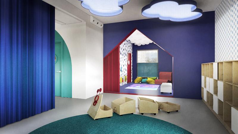 Wnętrza przedszkola w Dąbrowie Górniczej. Autorzy: studio projektowe IN | Diana Żurek, Bartosz Girek