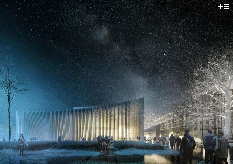 Konkurs na projekt sali koncertowej wraz z zagospodarowaniem placu Nowy Rynek w Płocku. I Nagroda: plus3-architekci