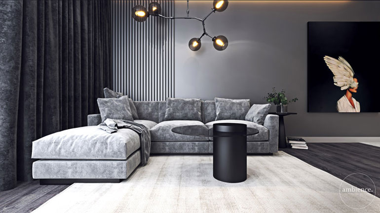 Kontrastowa elegancja we wnętrzach mieszkania w Krakowie. Projekt:Ambience. Interior Design