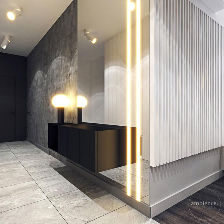 Kontrastowa elegancja we wnętrzach mieszkania w Krakowie. Projekt: Ambience. Interior Design