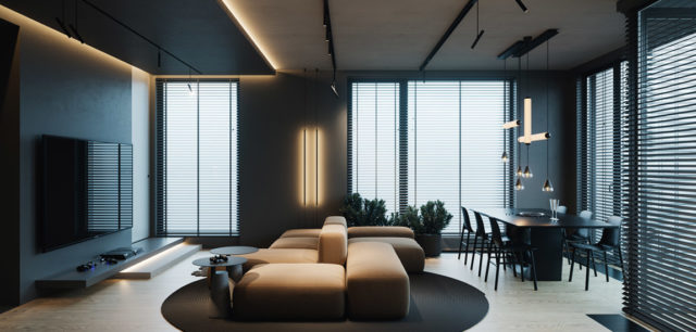Moc ciemnych barw! Apartament w Warszawie projektu studia hilight.design