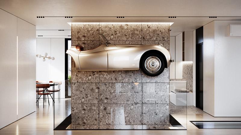 Mieszkanie kolekcjonera samochodów w Warszawie. Projekt wnętrz:hilight.design