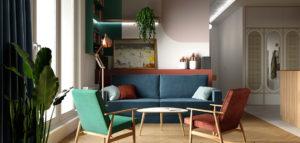 Artystyczne mieszkanie nawiązujące do lat 60. Wnętrza projektu Moniki Ziętarskiej
