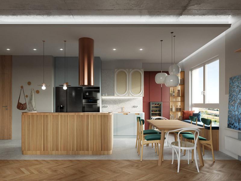 Artystyczne mieszkanie nawiązujące do lat 60, Gdańsk. Projekt: Pracownia Projektowa – Monika Ziętarska