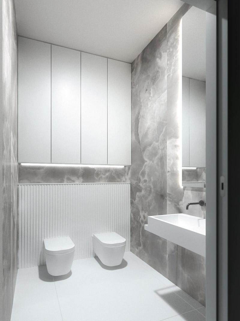 Wnętrza minimalistycznej willi na jeziorem, Iława. Projekt: Pracownia Projektowa - Monika Ziętarska