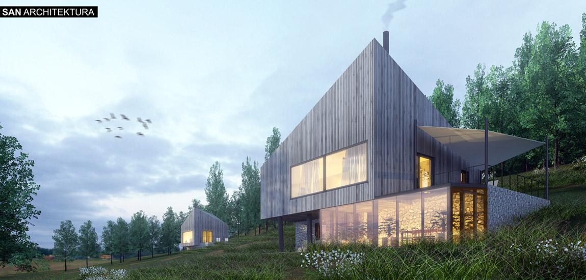 Domy w krajobrazie - projekt domków letniskowych z domem gospodarzy. Pracownia:SAN Architektura