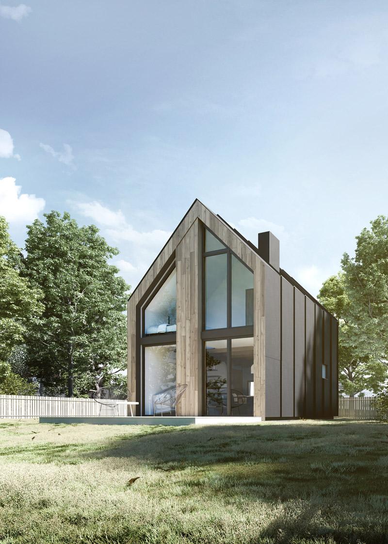 Nowoczesny domek letniskowy w miejscowości Trupel. Projekt: YONO ARCHITECTURE. Wizualizacja: GID Studio