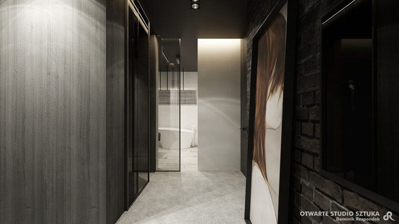 "Wnętrza domu ""The Wall"". Projekt OSS – Otwarte Studio Sztuka"