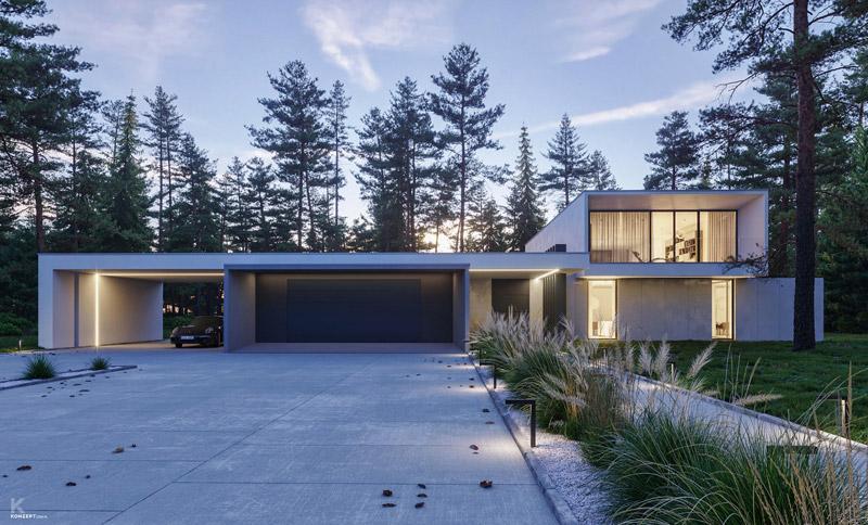 Frame House, woj. łódzkie. Projekt:KONZEPT Architekci