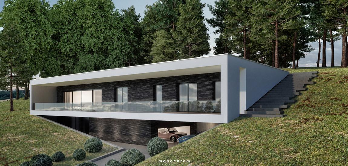 Dom na zboczu z widokiem aż po kres. Projekt EYE pracowni Monochrom Architects