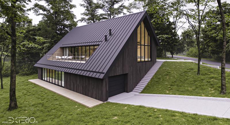 Dom na zboczu. Projekt:Pracownia Architektury EXTERIO