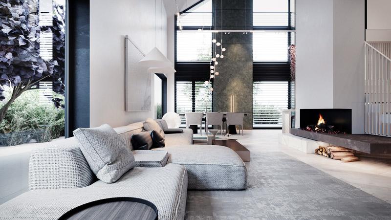 Wnętrza domu jednorodzinnego projektu studiahilight.design