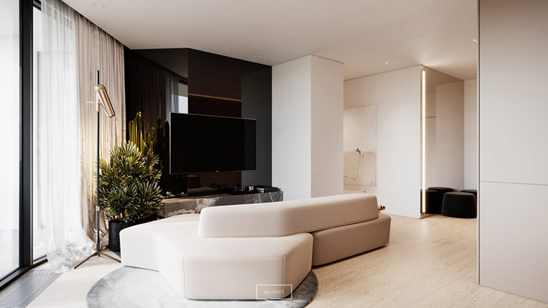 Apartament pokazowy. Projekt wnętrz:hilight.design