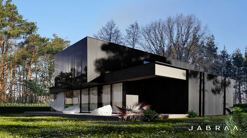 MONOHROM  Dom w Izabelinie. Projekt: JABRAARCHITECTS Tomasz Zaleski