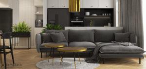 Mieszkanie ze złotymi dodatkami pracowni SYMETRIA