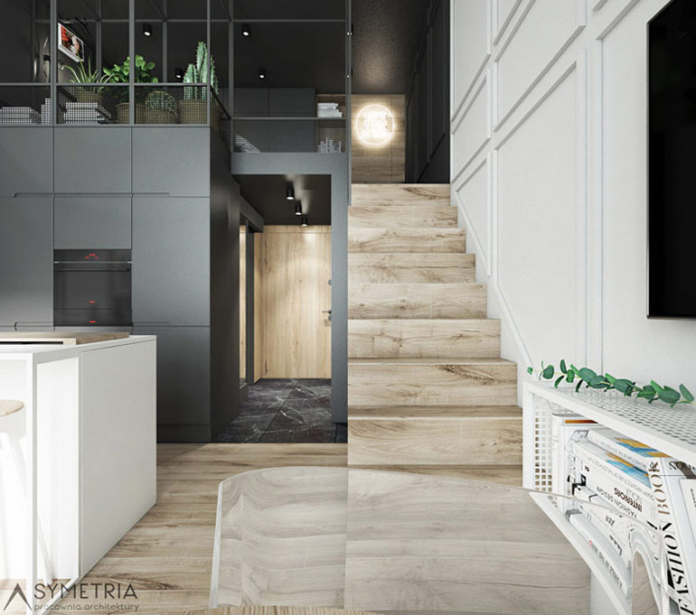 Wnętrze mieszkania z antresolą, Wrocław. Projekt:SYMETRIA Pracownia Architektury