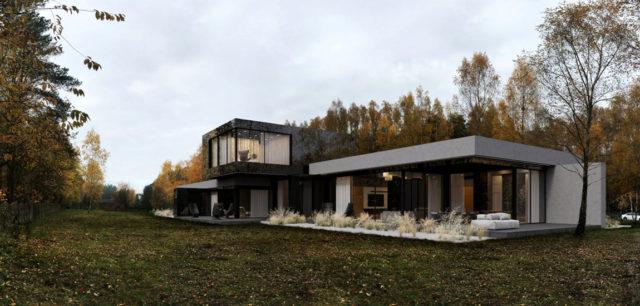 Surowa bryła domu w otoczeniu lasu pracowni REFORM Architekt