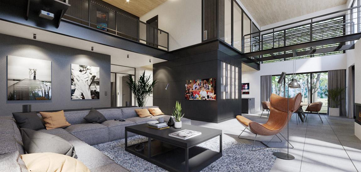 Dom z motocyklem – industrialne wnętrza projektu 3XB Architekci