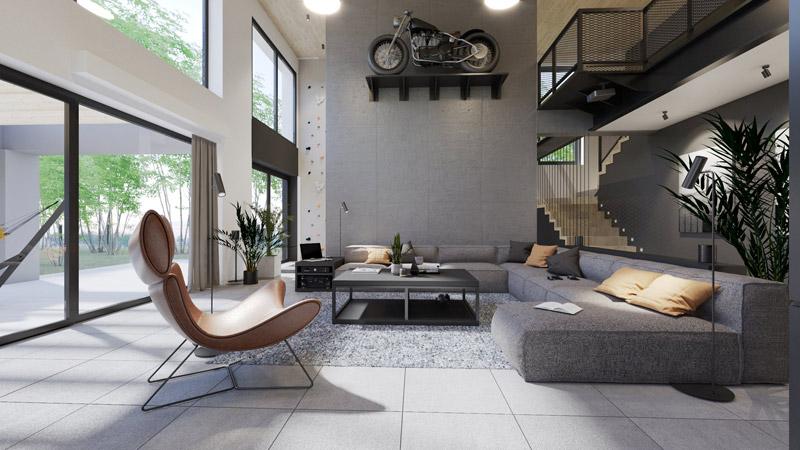 Dom z motocyklem, Poznań. Projekt wnętrz:3XB Architekci Filip Banach