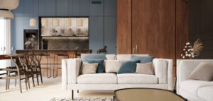 Nowoczesne wnętrza z akcentami w kolorze denim blue. Apartament projektu Balicka Design