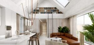 Dom wielopokoleniowy na wsi – organiczne kształty, biele, brązy i światło wypełniające wnętrza