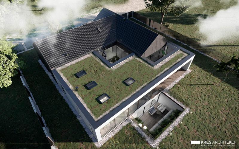 Dom z wewnętrznym patio w Piasecznie. Projekt:KRES Architekci