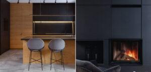 Czarne wnętrze z jodełką projektu biura SPACELAB