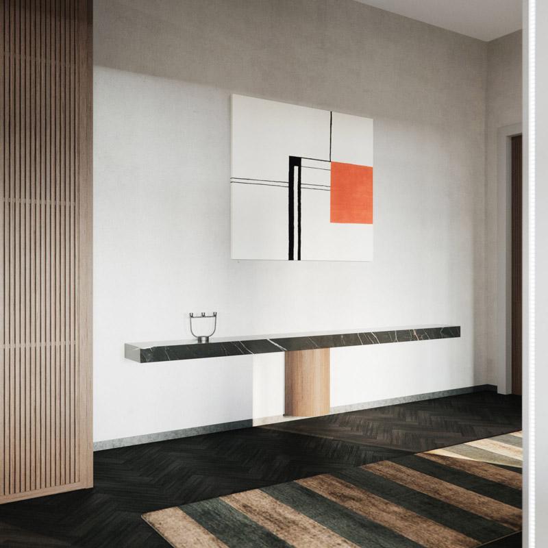 Wnętrza apartamentu. Projekt:STUDIO.O. organic design. Wizualizacje:Michał Nowak