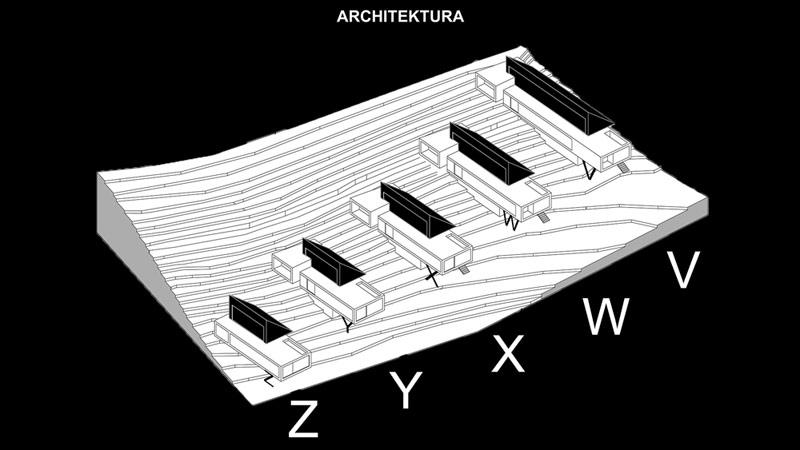 Dom/y/ V.W.X.Y.Z. - osiedle 5 domów na terenie Ojcowskiego Parku Narodowego. Projekt:Autograf Studio