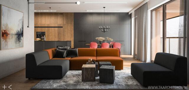 Nowoczesne mieszkanie z loftowymi akcentami projektu TK Architekci