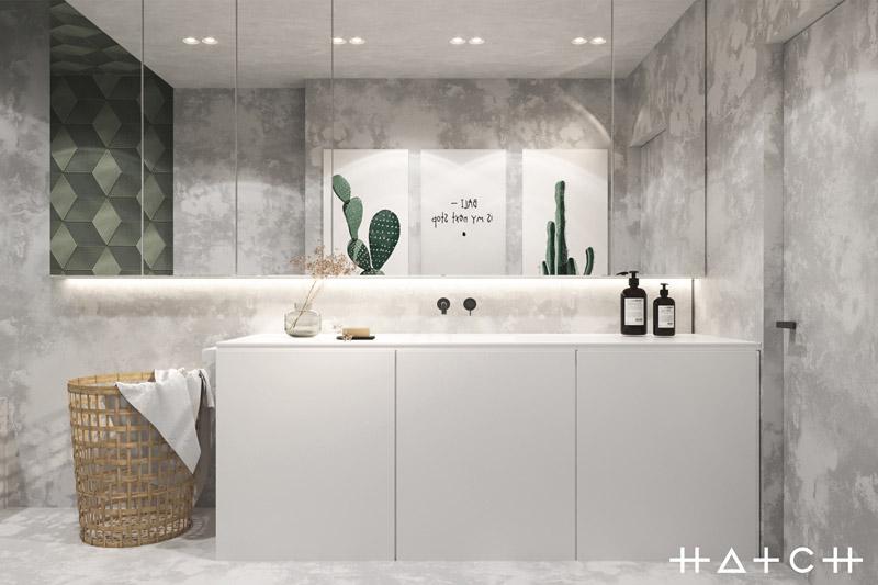 Wnętrza mieszkania wypełnione zielenią. Projekt: HATCH Studio