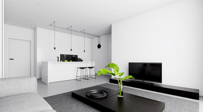 Minimalistyczny apartament w Łodzi. Projekt wnętrz:INUTI - Łukasz Rząd