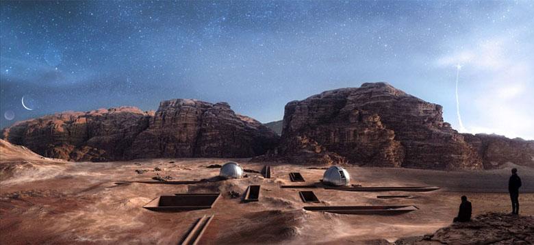 Projekt ośrodka badawczego w Wadi Rum w Jordanii. Autorka pracy: Anna Jaruga-Rozdolska